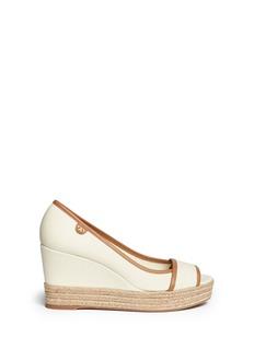 TORY BURCH'Majorca' canvas espadrille wedge sandals