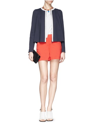 Figure View - Click To Enlarge - Armani Collezioni - Collarless contrast trim Milano knit jacket