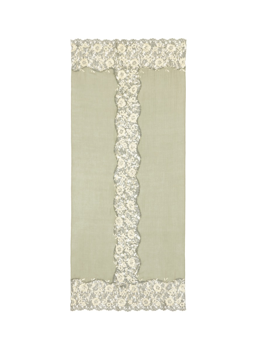 Floral embroidered lace panel cashmere scarf by Janavi