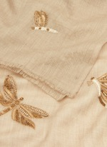 Dragonfly embellished cashmere scarf