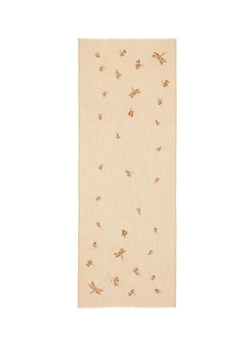 Dragonfly embellished cashmere scarf by Janavi