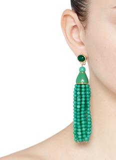 Kenneth Jay LaneBeaded tassel drop clip earrings