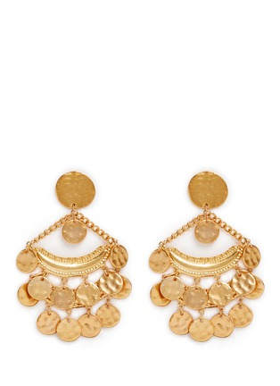 Main View - Click To Enlarge - Kenneth Jay Lane - Coin charm gold plated chandelier earrings