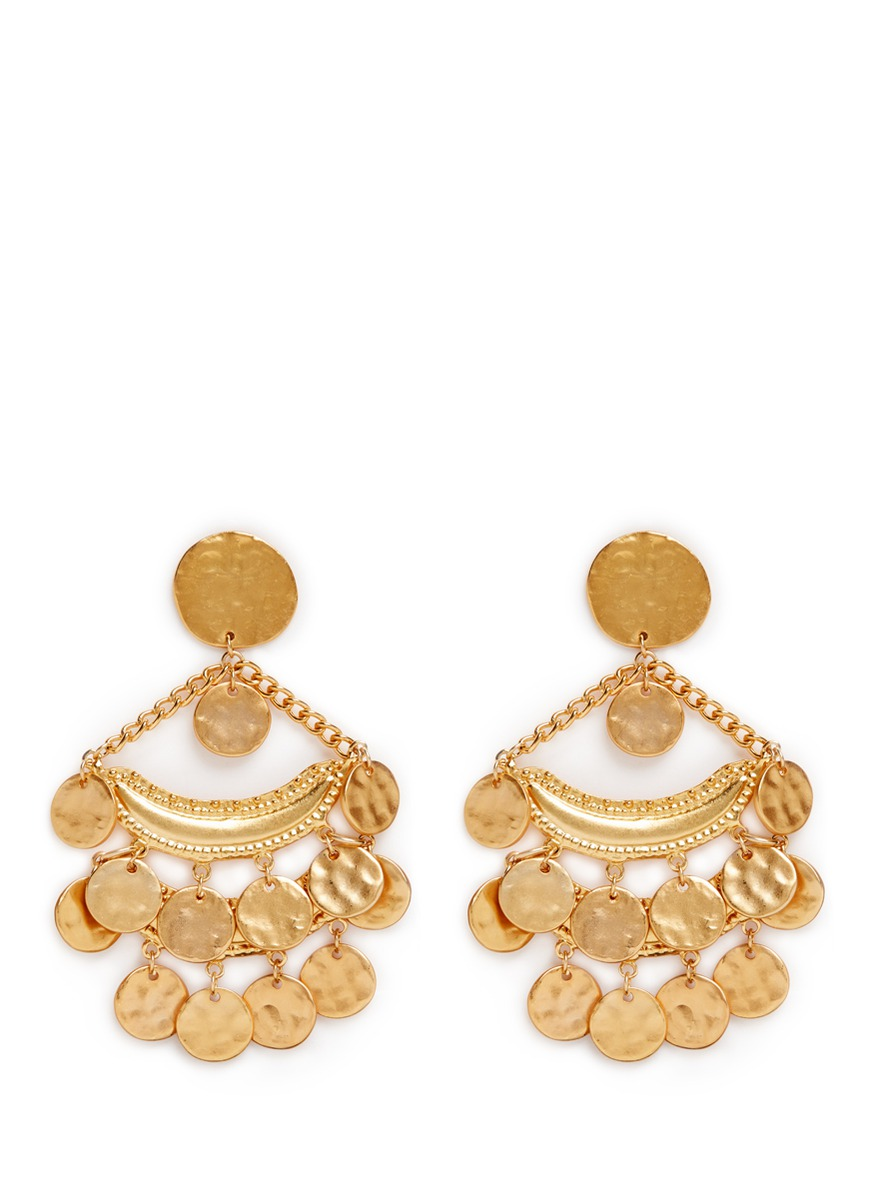 Coin charm gold plated chandelier earrings by Kenneth Jay Lane