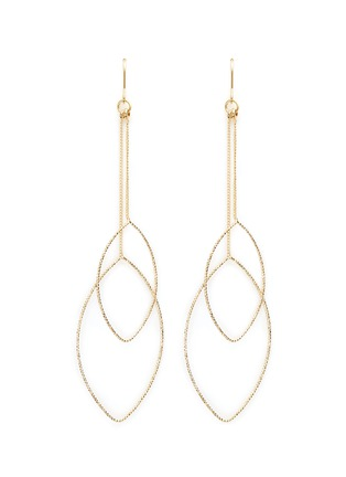 Main View - Click To Enlarge - Kenneth Jay Lane - Textured leaf outline gold plated drop earrings
