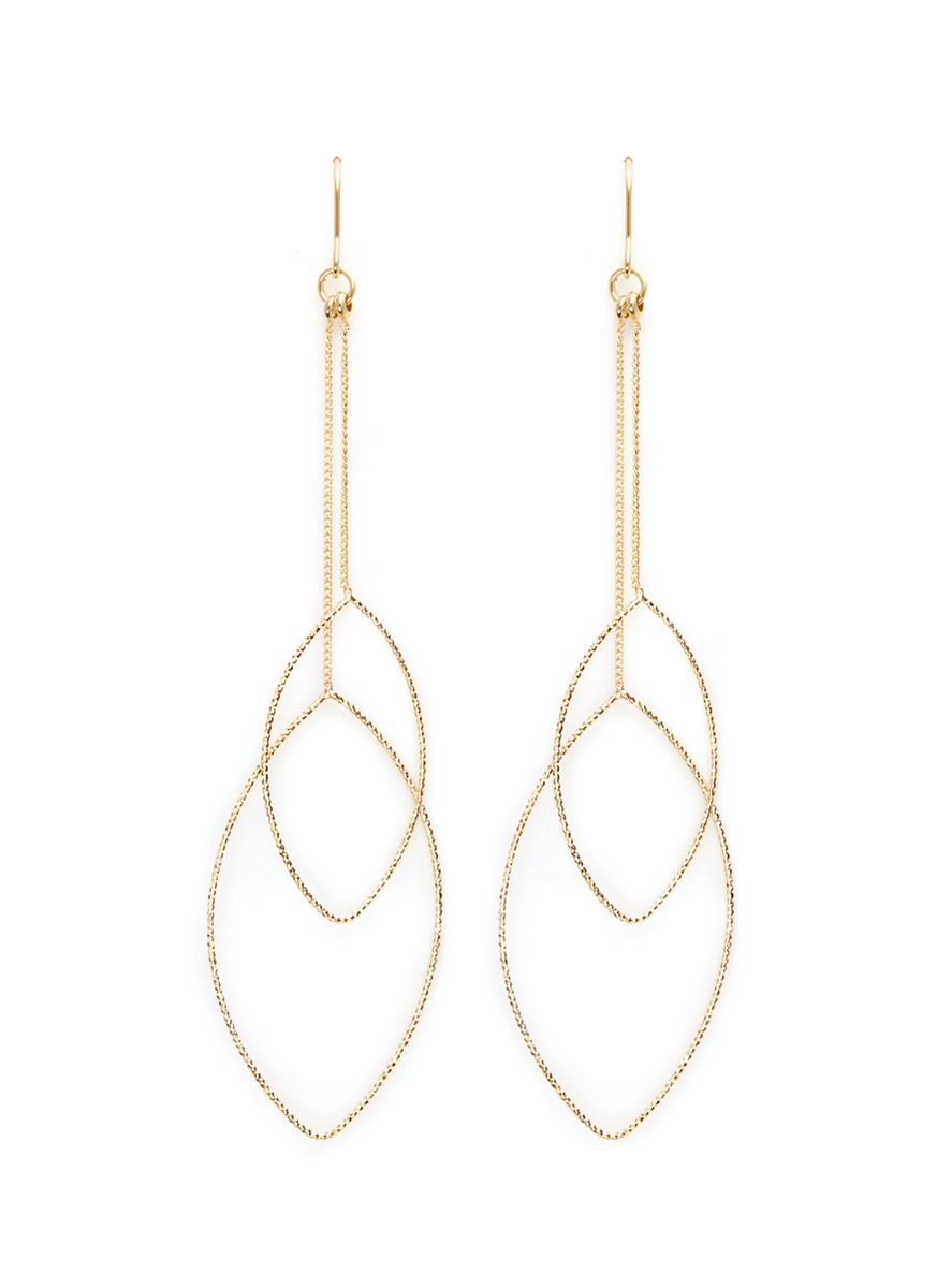 Textured leaf outline gold plated drop earrings by Kenneth Jay Lane