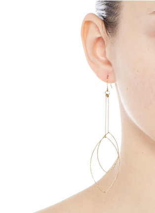 Figure View - Click To Enlarge - Kenneth Jay Lane - Textured leaf outline gold plated drop earrings