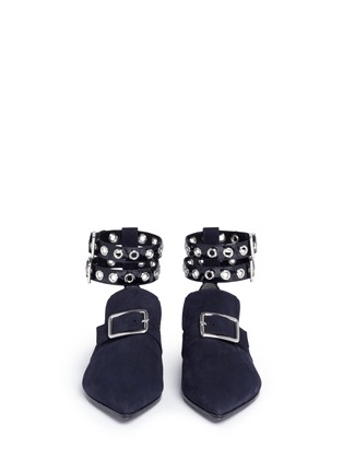 Front View - Click To Enlarge - self-portrait - x Robert Clergerie 'Lolli' eyelet ankle strap suede loafers