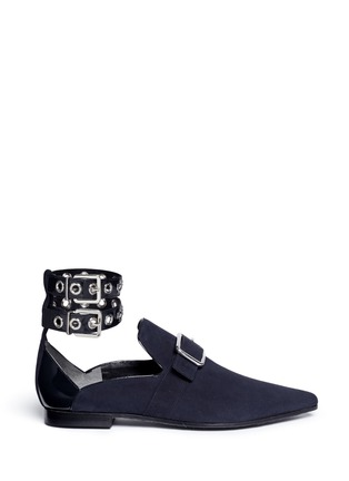 Main View - Click To Enlarge - self-portrait - x Robert Clergerie 'Lolli' eyelet ankle strap suede loafers