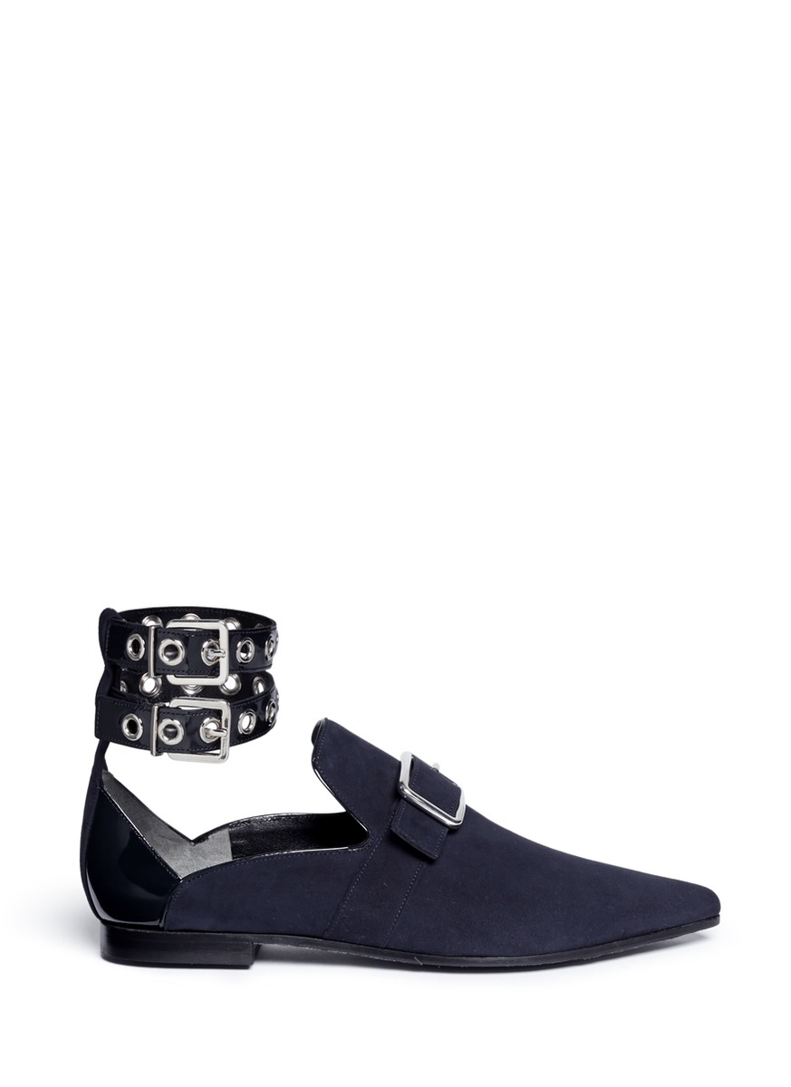 x Robert Clergerie Lolli eyelet ankle strap suede loafers by self-portrait