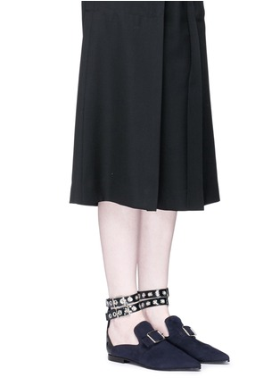 Figure View - Click To Enlarge - self-portrait - x Robert Clergerie 'Lolli' eyelet ankle strap suede loafers
