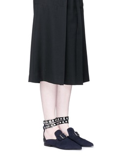 self-portraitx Robert Clergerie 'Lolli' eyelet ankle strap suede loafers