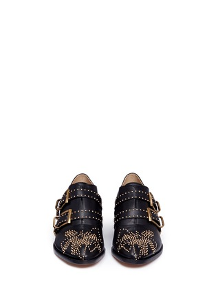 Front View - Click To Enlarge - Chloé - 'Susanna' floral stud buckled leather booties