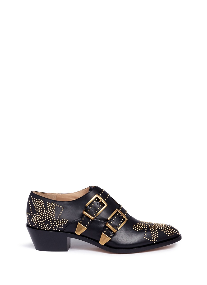 Susanna floral stud buckled leather booties by