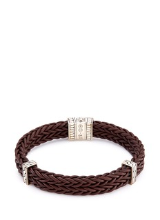 John Hardy Silver charm double braided leather bracelet
