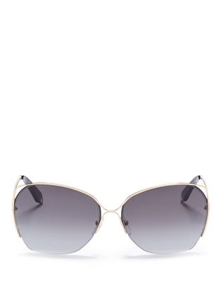 Main View - Click To Enlarge - Victoria Beckham - 'Fine Wave' cutout metal temple sunglasses
