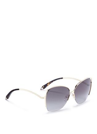 Figure View - Click To Enlarge - Victoria Beckham - 'Fine Wave' cutout metal temple sunglasses
