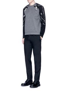 ValentinoPanther print contrast sleeve neoprene sweatshirt