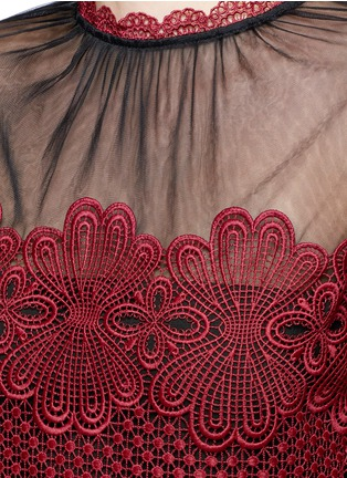 Detail View - Click To Enlarge - self-portrait - 'Felicia' tulle panel floral lace dress