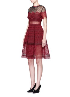 self-portrait 'Felicia' tulle panel floral lace dress