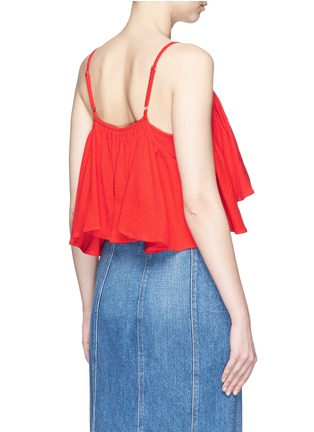 Back View - Click To Enlarge - Mara Hoffman - Grid organic cotton ruffle cropped top