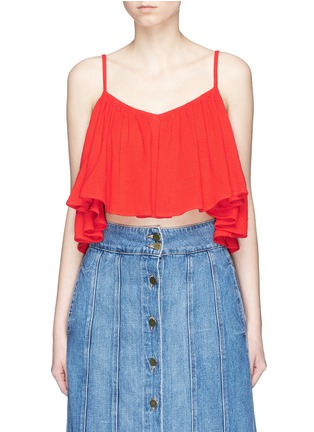 Main View - Click To Enlarge - Mara Hoffman - Grid organic cotton ruffle cropped top