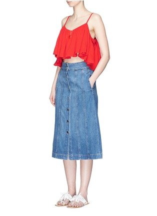 Figure View - Click To Enlarge - Mara Hoffman - Grid organic cotton ruffle cropped top