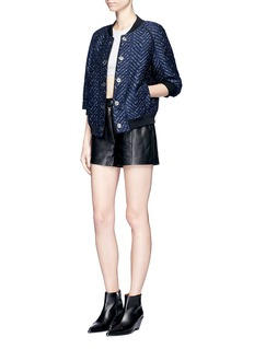 3.1 Phillip Lim Zip front lambskin leather shorts
