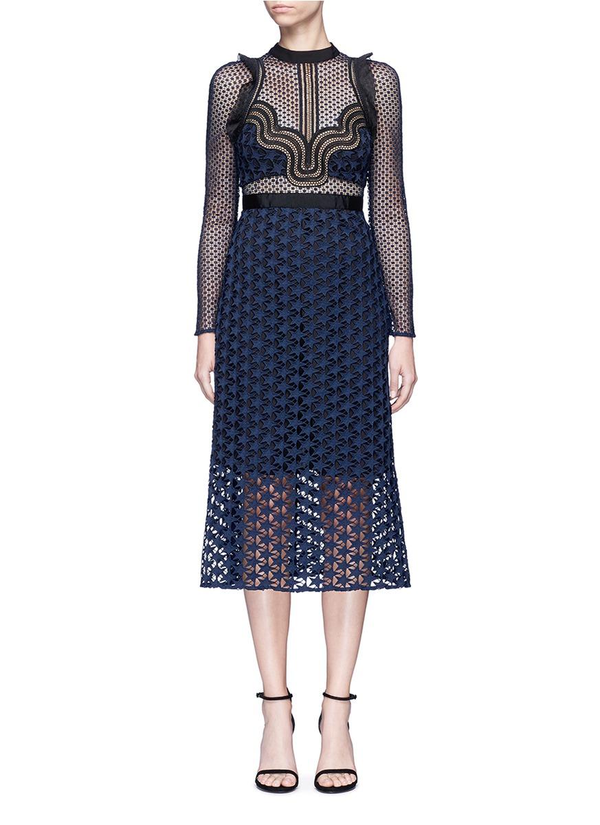 Star Repeat frill trim graphic lace midi dress by self-portrait