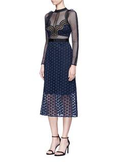 self-portrait'Star Repeat' frill trim graphic lace midi dress