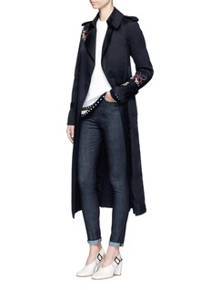 Victoria Beckham Orchid embroidered gabardine trench coat