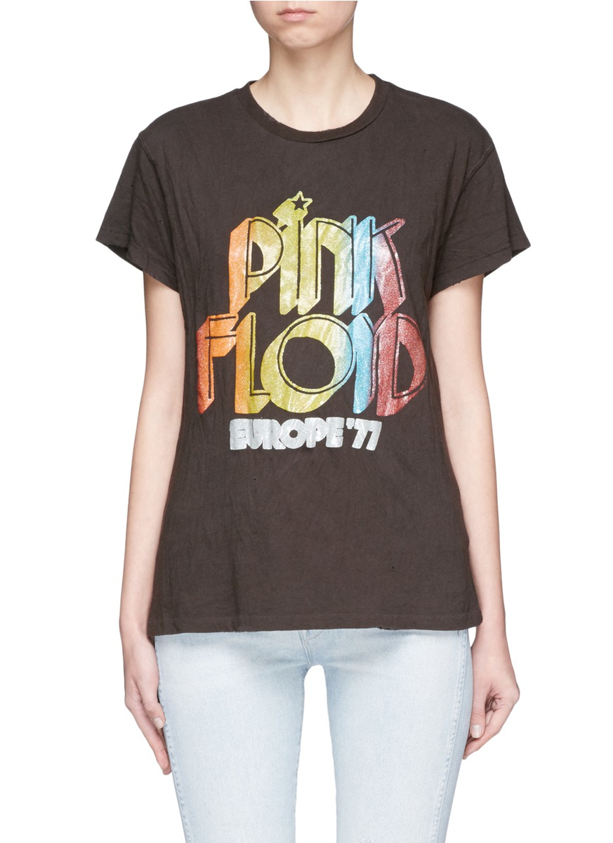 Pink Floyd glitter print distressed jersey T-shirt by Madeworn
