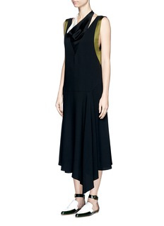 Lanvin Satin trim drape neck crepe dress