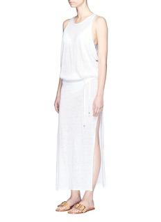 Vitamin A'Island' mesh back linen maxi dress