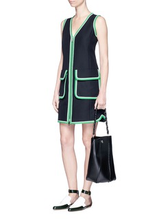 Emilio Pucci Silk trim woven cotton dress