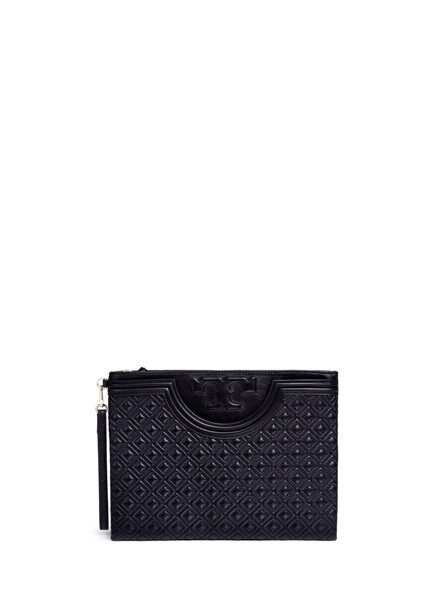Fleming large quilted leather pouch by Tory Burch