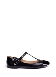 Tory Burch 'Blossom' T-strap patent toe cap leather flats