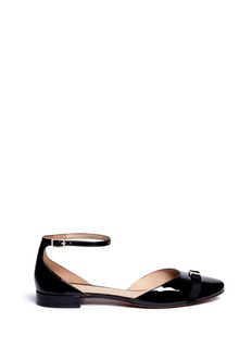 Tory Burch 'Gemini' logo bow patent leather flats