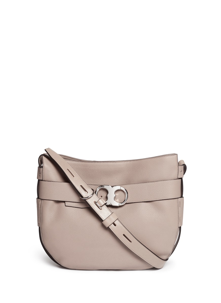 Gemini belted pebbled leather hobo bag by Tory Burch