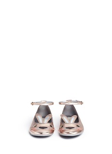 Stella Mccartney Kids 'Hopper Rabbit' metallic alter nappa kids ballerinas