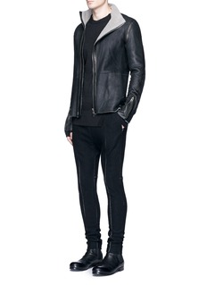 The Viridi-anne Fleece lined mutton leather jacket