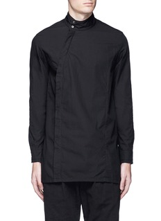 The Viridi-anne Asymmetric button collar cotton shirt