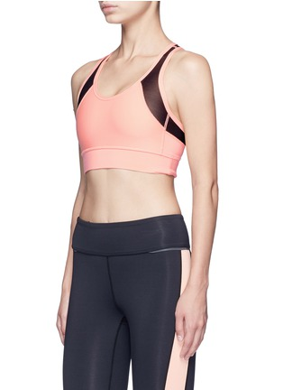 Front View - Click To Enlarge - Alala - 'Zip it up' mesh panel sports bra