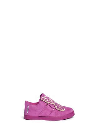 Main View - Click To Enlarge - Sophia Webster - 'Bibi Low Top Mini' butterfly embroidery toddler suede sneakers