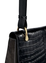 'Zoe' croc embossed flap suede saddle bag