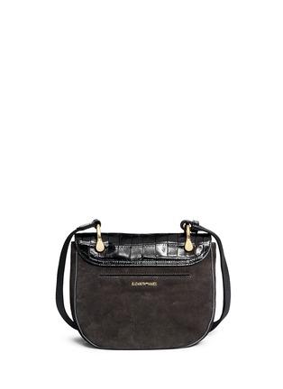 Elizabeth and James-'Zoe' croc embossed flap suede saddle bag