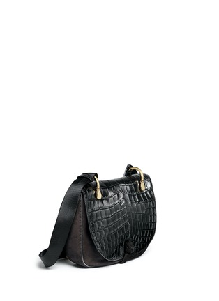 Front View - Click To Enlarge - Elizabeth and James - 'Zoe' croc embossed flap suede saddle bag