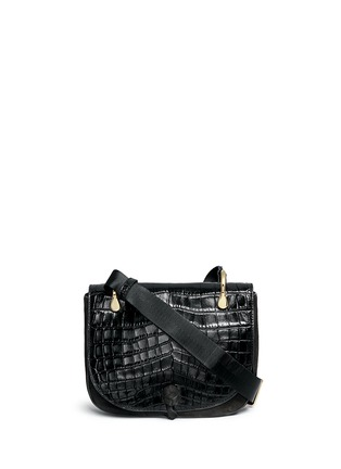 Main View - Click To Enlarge - Elizabeth and James - 'Zoe' croc embossed flap suede saddle bag