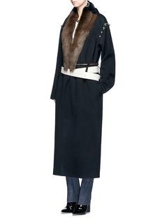 TOGA ARCHIVESSheepskin fur silhouette print belted blanket coat