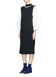 TOGA ARCHIVES Frayed trim neck tie crepe dress